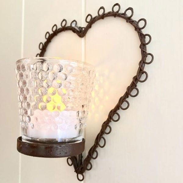 Rococo Heart Wall Hung Votive with Hobnail Glass Detail Close Up