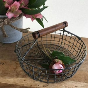 Small Round Basket with Wooden Handle