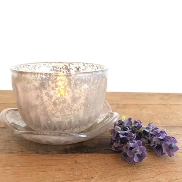Vintage Tealight Cup with Flower Saucer