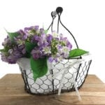 Wire Egg Basket with Fabric Liner
