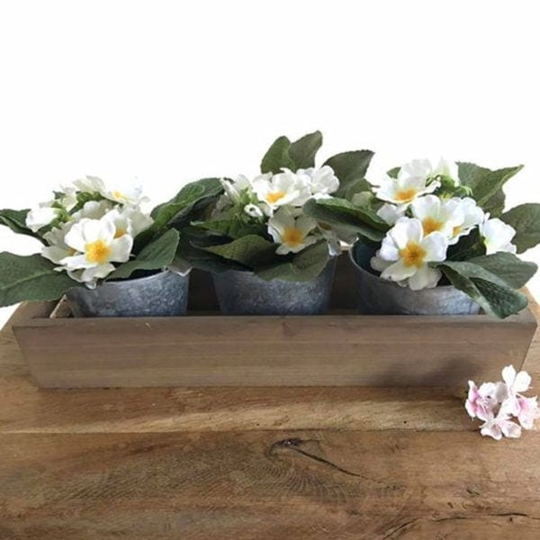 Wooden Tray with 3 x Zinc Plant Pots