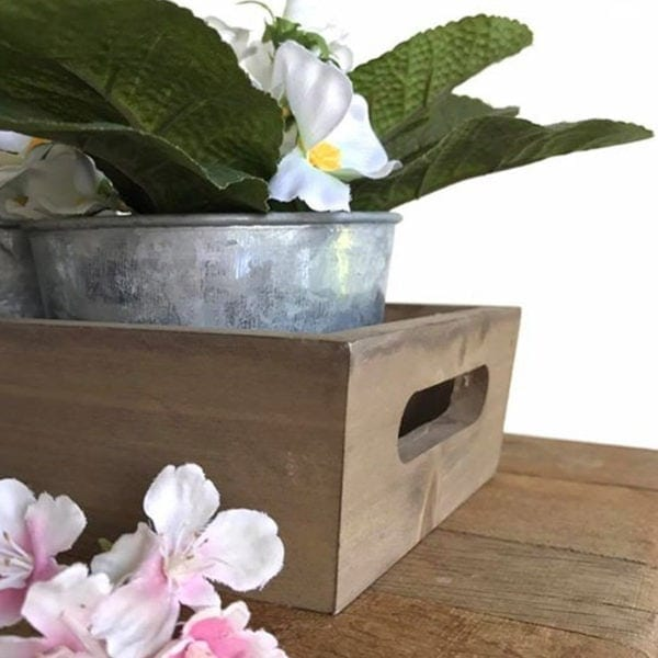 Wooden Tray with 3 x Zinc Plant Pots Close Up