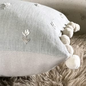 Grey Cushion Pom Pom
