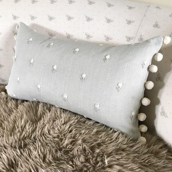 Grey Cushion Pom Pom